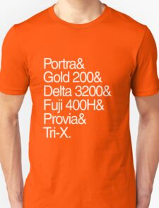 Helvetica Film Stock White Unisex T-Shirt