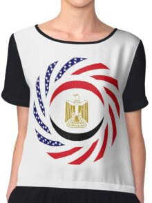 Egyptian American Multinational Patriot Flag Series Chiffon Top
