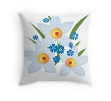 Illustration of daffodils, spring flowers. Throw Pillow
