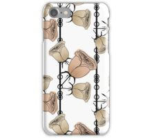 Texture seamless white background and beige flowers iPhone Case/Skin