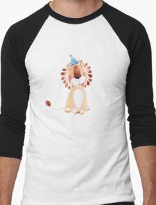 Littlle lion with blue party hat Men's Baseball ¾ T-Shirt
