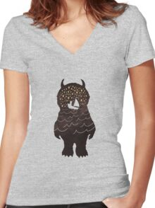 And Into The Night Women's Fitted V-Neck T-Shirt