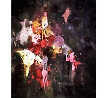 Allure Abstract Painting in Red, Purple, Gold and Black Photographic Print