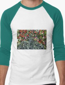 Natural background with small red flowers among green leaves. Men's Baseball ¾ T-Shirt