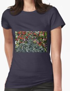 Natural background with small red flowers among green leaves. Womens Fitted T-Shirt