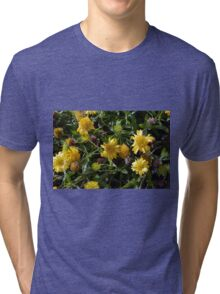 Many joyful yellow flowers in the garden. Tri-blend T-Shirt