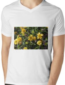 Many joyful yellow flowers in the garden. Mens V-Neck T-Shirt