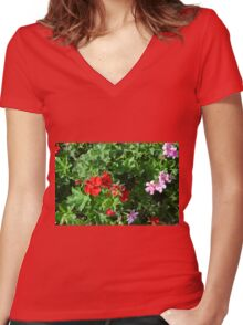 Colorful flowers in the garden. Women's Fitted V-Neck T-Shirt
