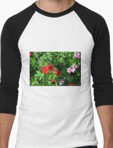 Colorful flowers in the garden. Men's Baseball ¾ T-Shirt