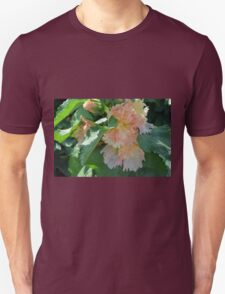 Beautiful delicate pink flowers and green leaves. T-Shirt