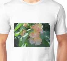 Beautiful delicate pink flowers and green leaves. Unisex T-Shirt