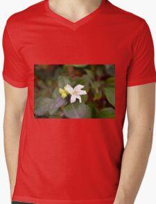 Small white flower and green leaves. Mens V-Neck T-Shirt