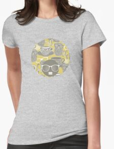 Tea owl yellow. Womens Fitted T-Shirt