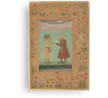 Jahangir and his Father, Akbar, Folio from the Shah Jahan Album Canvas Print