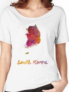 South Korea in watercolor Women's Relaxed Fit T-Shirt