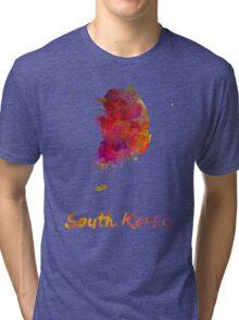South Korea in watercolor Tri-blend T-Shirt