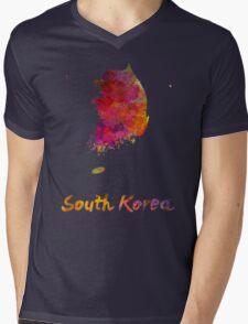 South Korea in watercolor Mens V-Neck T-Shirt