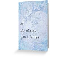 Blue World Map Inspirational Quote, back to school Greeting Card