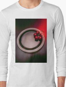 Food,cherries on glass plate. Long Sleeve T-Shirt