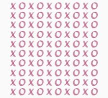 XOXO Neon Hot Pink on Bright Teal Blue X's and O's Typography Art First Draf Baby Tee