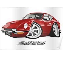 Datsun 240Z caricature red Poster