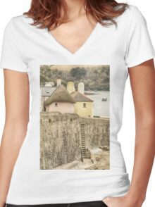 Thatched Cottage At St. Mawes Women's Fitted V-Neck T-Shirt