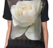 White Rose and Bud Chiffon Top