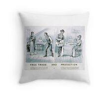 Free trade and protection - 1888 - Currier & Ives Throw Pillow