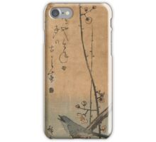 Japanese bush singer on pruimentak with haiku, Hiroshige (I), Utagawa,  iPhone Case/Skin