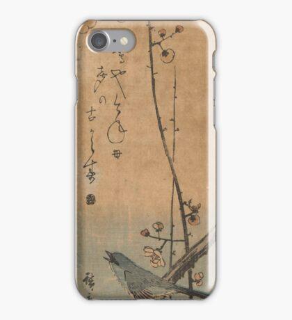 Japanese bush singer on pruimentak with haiku, Hiroshige (I), Utagawa,  iPhone Case/Skin