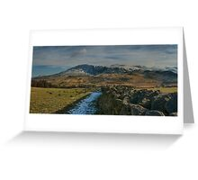 winter mountain view lake district cumbria Greeting Card