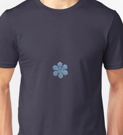 Forget-me-not, real snowflake photo (gradient background) Unisex T-Shirt