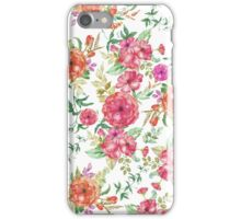 Bohemian chic pink coral green watercolor floral iPhone Case/Skin