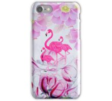 Pink watercolor flowers hand painted flamingo iPhone Case/Skin