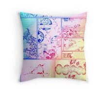 Rainbow Asian Scroll Art Collage Bright Blue Pink Birds Yellow Red Flower Back to School Throw Pillow