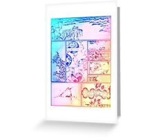 Rainbow Asian Scroll Art Collage Bright Blue Pink Birds Yellow Red Flower Back to School Greeting Card