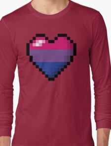 Bisexual Pixel Heart Long Sleeve T-Shirt