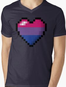 Bisexual Pixel Heart Mens V-Neck T-Shirt