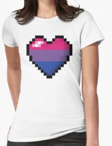 Bisexual Pixel Heart Womens Fitted T-Shirt