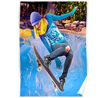 Skateboarding on Water Poster
