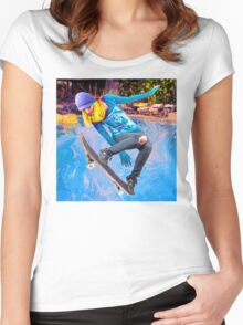Skateboarding on Water Women's Fitted Scoop T-Shirt