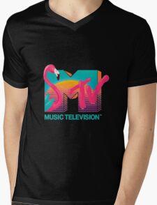 MTV Flamingo Mens V-Neck T-Shirt