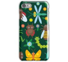 Insects on green iPhone Case/Skin