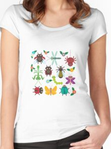 Insects on white Women's Fitted Scoop T-Shirt
