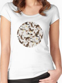 Kittens and Butterflies - a painted pattern Women's Fitted Scoop T-Shirt