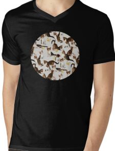 Kittens and Butterflies - a painted pattern Mens V-Neck T-Shirt