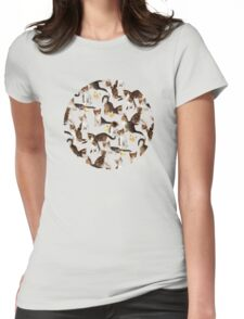 Kittens and Butterflies - a painted pattern Womens Fitted T-Shirt