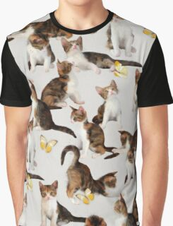 Kittens and Butterflies - a painted pattern Graphic T-Shirt