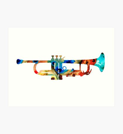 Colorful Trumpet Art By Sharon Cummings Art Print