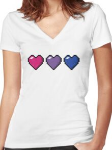 Bisexual Pixel Hearts Women's Fitted V-Neck T-Shirt
